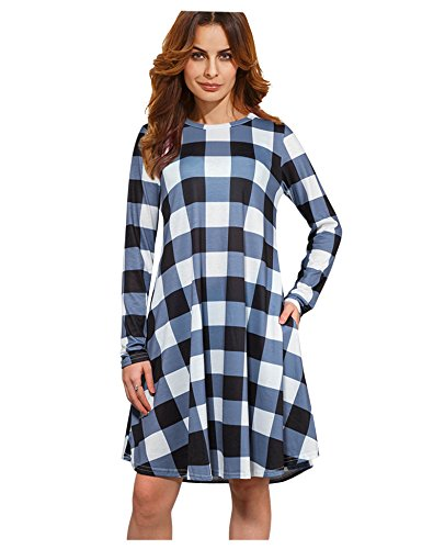 XINGONGCHENG Women's Scoop-Neck Plaid Long-Sleeve Short Straight Dress, Black, Large