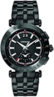 Versace Men's Chronograph Quartz Watch With Stainless Steel Strap Vah040016, Black Band