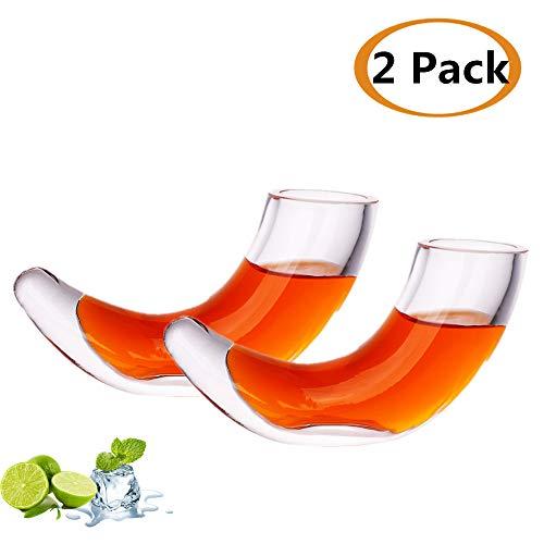 Horn Schnapsglas, 40 ml, 2 Stück, kreatives Horn-Design, Horn, Weinbecher, Kreatives Saftglas, Trinkglas, Draft Bierglas, SC023 Hornschnapsglas
