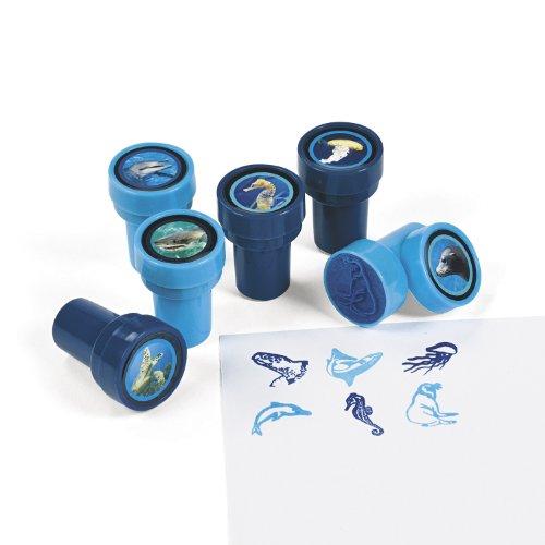 cama24com Kinderstempel Hai Delfin Meerestiere 6 Verschiedene Motive mit Palandi® Sticker