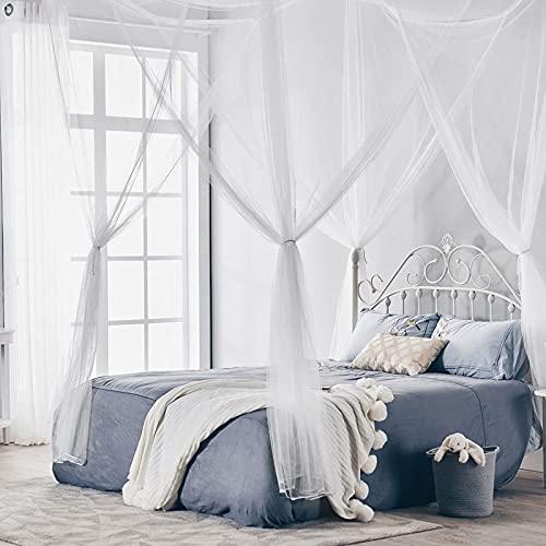 Mosquitera para camas dobles 4 entradas mosquitera rectangular para cama con dosel mosquitera mosquitera toldo repelente de mosquitos para viajes en casa camping 190