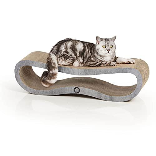 CanadianCat Company ® | Kratzbrett Orbit | betonoptik | Kratzmöbel, Lounge für Katzen | Kratzpappe + Katzenminze | ca. 84 x 24 x 23cm