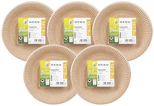 HEKU 30963: 100 platos de papel bio be Green redondos, 23 cm de diámetro, fibra fresca, certificado FSC,