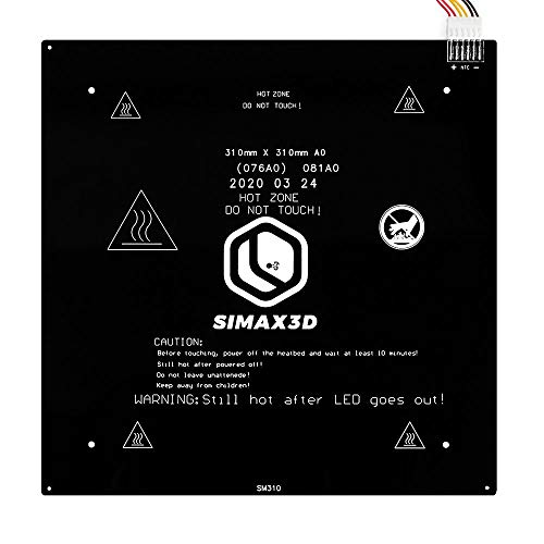 SIMAX3D 3D Printer Aluminum Heated Bed 24V 310x310mm, Heating Plate Platform, Updated Version of MK2A MK2B - Hot Bed for Most 3D Printer, CR10, with 1Meter Cable