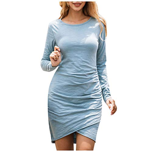 VEMOW Vestido De Punto De Sólido Manga Larga con Cuello En O De Invierno para Mujer Vestido De Fiesta De Noche Mini Vestir Verano Otoño(Azul,L)