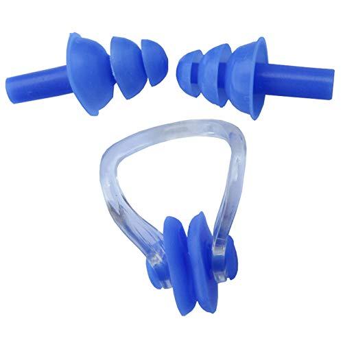 Fengshunte - Tappi per le orecchie in silicone impermeabile, con clip per naso e orecchie, protezione per il naso, confezione per il nuoto, per bambini, adulti, colore: blu