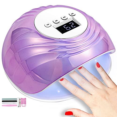 Shuye LED UV Lámpara de Uñas 86W, Lámpara Secador de Uñas, con temporizador 30s/60s/99s, Sensor Automático, Pantalla LCD y Base extraíble, Para Manicura/Pedicure Nail Art