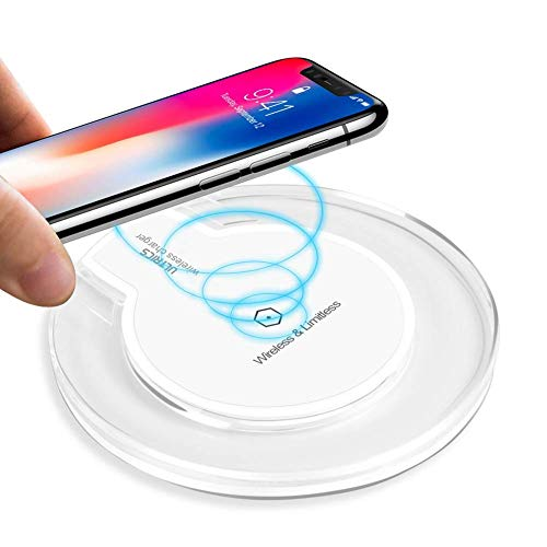ULTRICS Cargador Inalámbrico, Qi Habilitado Wireless Charger, Universal Estándar Cargador Movil Compatible con iPhone 11 Pro/XS MAX/XR/X/ 8, Samsung Galaxy S20/ S10/ S9/ S8 Plus, Note 10 – Blanco