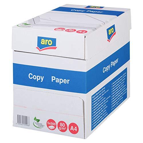 aro Druckerpapier | Kopierpapier | DIN A4 | 80 g/m² | 5x500 Blatt (2.500 Blatt) | Weiß | Professionelles Druckerpapier für Home Office und Büro