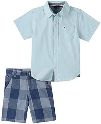 Tommy Hilfiger Boys' 2 Pieces Shirt Shorts Set, Blue Plaid, 2T