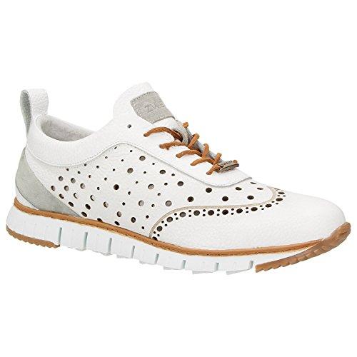 Zweigut® -Hamburg- komood #356 Herren Sneaker Leder Schuhe luftiges Brogue-Muster auf extrem Flexibler Sohle, Schuhgröße:43, Farbe:weiß