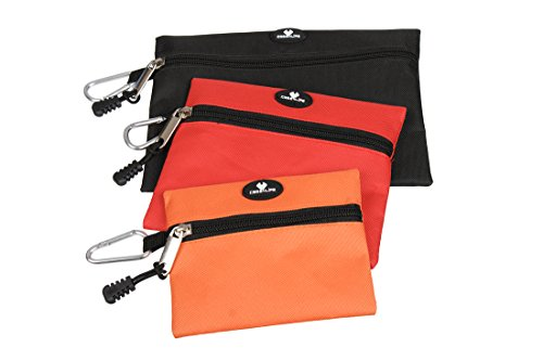 Case4Life Heavy Duty Set Of 3 Multi Purpose Tool Bags Organisers Storage Pouch with Carabiner Snap Hook for Quick Removal - Lifetime Warranty