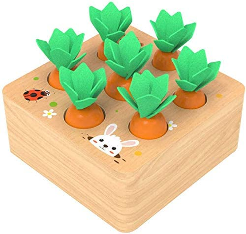 Ancaixin Wooden Toys for 1 Year Old Boys and Girls Montessori Size Sorting & Counting Puzzle Game Carrots Harvest Developmental Gifts for Fine Motor Skill