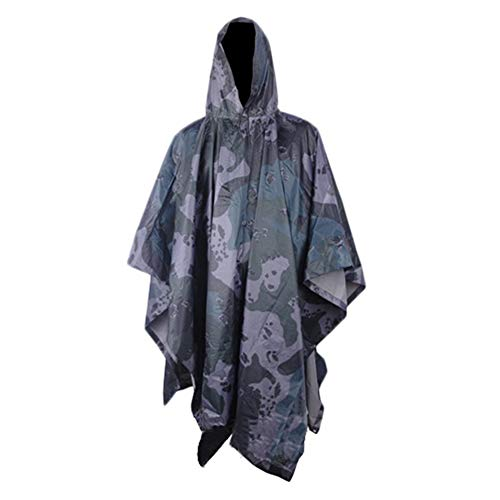 Rain Ponchos, Outdoor Camping Jungle Hunting 3 in 1 Tactical Camouflage Bionic Military Raincoat Poncho Backpack Rain Cover Tent Mat Awning, 140 * 102cm/55 * 40 inch,E