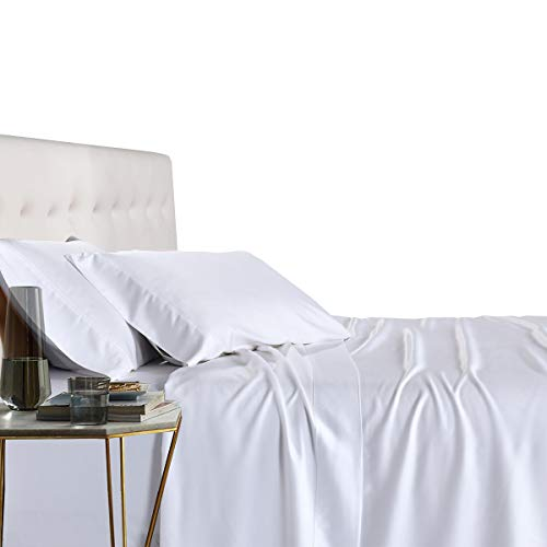 Royal Tradition 100 Percent Bamboo Bed Sheet Set, King, Solid White, Super Soft and Cool Bamboo Viscose 4PC Sheets