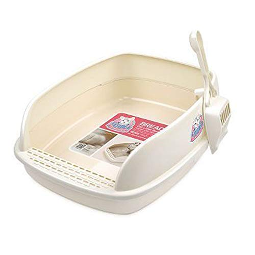 Vivi Bear 猫トイレ ネコトイレ 猫 ペット用 猫用トイレ本体 ペット用品 ハーフカバー本体セット 砂飛び散り防止 手入れ簡単 スコップ付き(46*36*15)