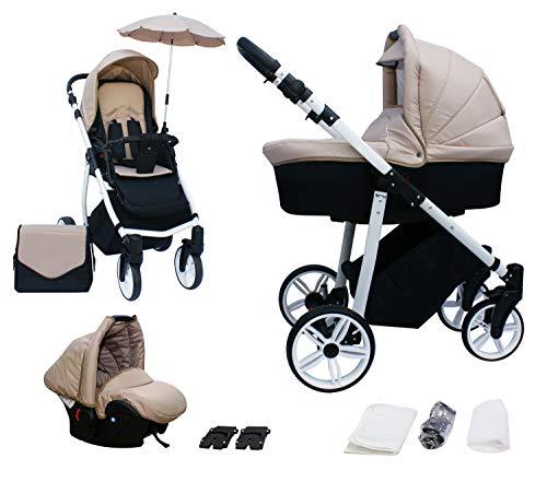 Skyline 3in1 Kombi Kinderwagen mit einem Aluminium Gestell, Babywanne, Sport Buggyaufsatz und Babyschale (ISOFIX) (Beige)