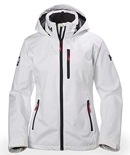 Helly Hansen Damen W CREW HOODED MIDLAYER JACKET Jacke W CREW HOODED MIDLAYER JACKET, weiß (White), Large (Herstellergröße: Large)