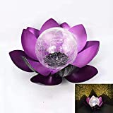 Garden Solar Light Outdoor, Crackle Globe Glass Lotus Decoration,Waterproof Purple