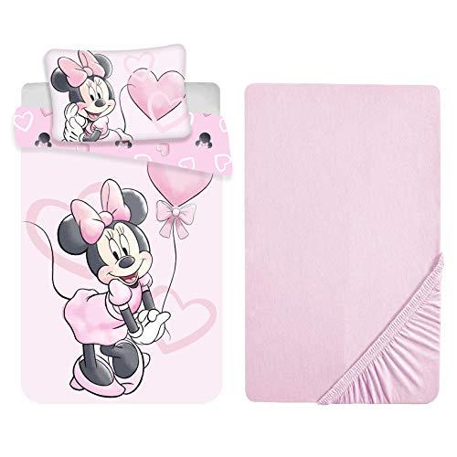L.T.Preferita Disney Minnie Mouse - Juego de ropa de cama para bebé, cuna de bebé, funda nórdica + funda de almohada + sábana bajera con esquinas