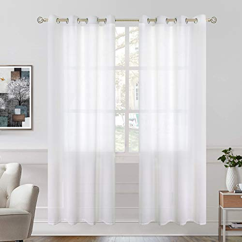 BGment Sheer Curtains 84 inch Length for Bedroom, Grommet Semi-Transparent Light Filtering Privacy Opaque Curtains for Living Room, 2 Panels ( Each 52 x 84 Inch, White)