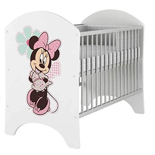 iGLOBAL Cuna de bebé, juego completo con 2 barrotes, colchón de 3 alturas, espuma y fibras de coco, 120 x 60 cm (Minnie)