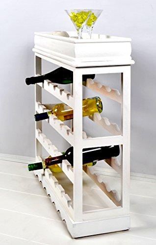 Weinregal Weiß für 24 Flaschen Flaschenregal weißes Holz - 6