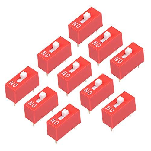Sourcing Map 10 Stück rot DIP-Schalter 1 Positionen für Steckplatinen PCB