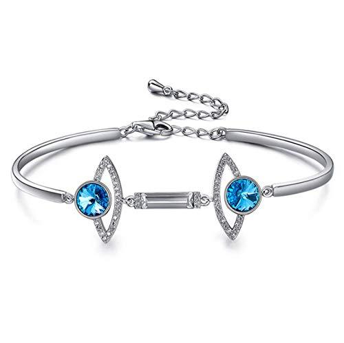zhenfa Pulseras,Pulsera Platinum Platinum Devil Eye,Swarovski Elements Crystal Inlay Zircon Bracelet,Este Pulsera de Moda Viene con una Caja,Utilizado como Regalos para Mujer Madre Novia,19.4CM