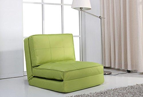 Poltrona letto, (rivestimento in fintapelle, verde grande)