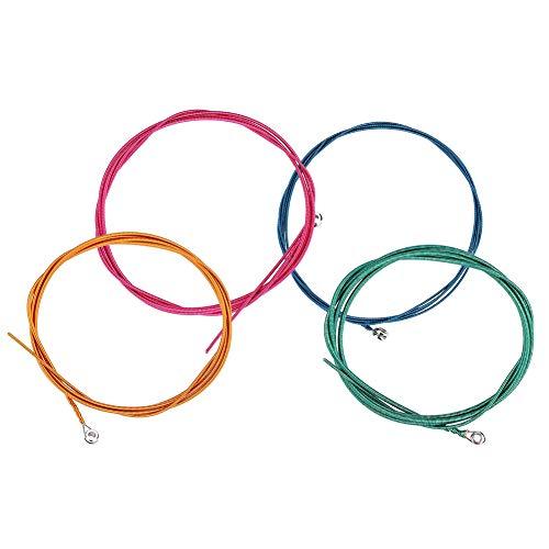 RiToEasysports Cuerdas para bajo, 1.16 mm, 1.44 mm, 2.0 mm, 2.54 mm (.046-.100) Piezas de bajo eléctrico de aleación de níquel y Acero de Colores Coloridos.