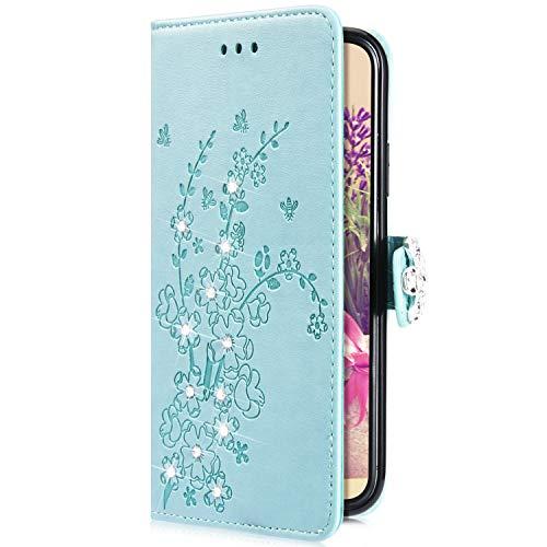 Uposao Kompatibel mit Samsung Galaxy S10e Hülle Brieftasche Handyhülle Leder Schutzhülle Glänzend Glitzer Strass Diamant Schmetterling Blume Muster Wallet Flip Case Magnet,Grün