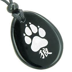 Lucky Wolf Paw Kanji Spiritual Amulet Black Agate Pendant Necklace