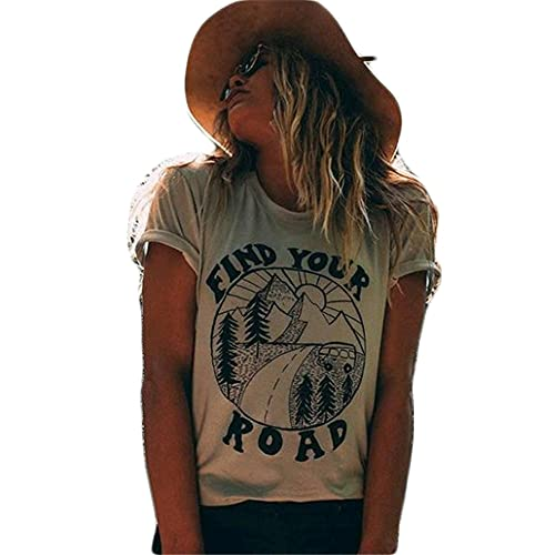 Camiseta Mujer Tops Mujer Cómoda Suelta Casual Suelta Moda Urbana Estampado De Letras Cuello Redondo Manga Corta Verano Cool Light Mujer Camisas A-Grey XL