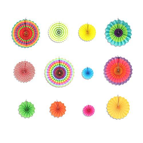 Decoración Abanicos de Papel Baby Shower, 12 Piezas Rosa Ventilador de Papel con...
