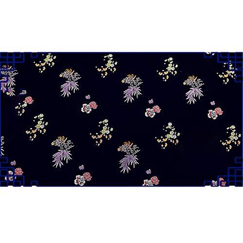 SQINAA Brocade Tela Plum Orchid Bamboo Y Chrysanthemum Silk Silk Satin para Bolsas De Cortina Cubierta De Almohada Decoracin De La Boda 75X50cm,Negro
