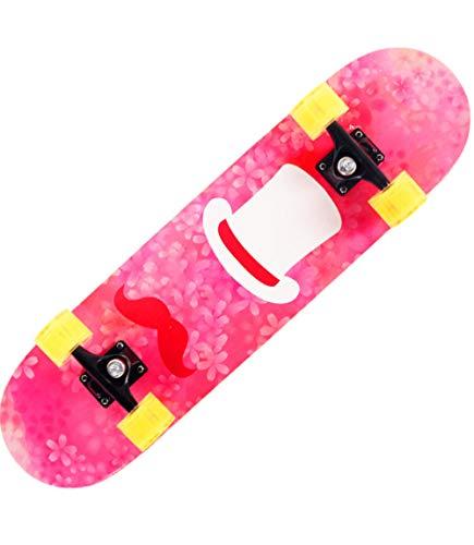 XYZJIA Hölzernes Skateboard des Spielzeugskateboards trägt Skateboard der Kinder im Freien, pink_E zur Schau