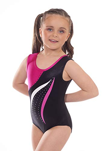 Velocity Dancewear Gymnastics Leotards for Girls Short Sleeve/Sleeveless Mambo Purple Color Sparkle Leotard Dancing Ballet Gymnastics Athletic (7-8 Years, Size 28)