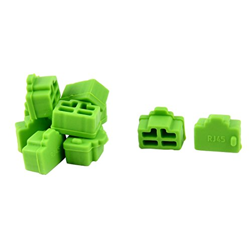 uxcell Ethernet Hub Port Anti Dust Cover Cap Protector Green 10 Pcs