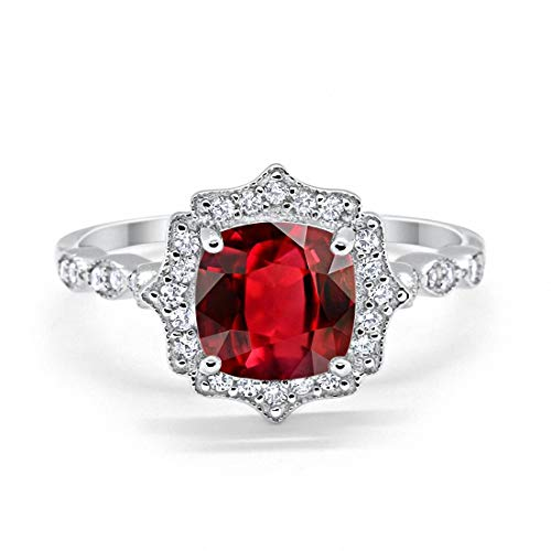 Blue Apple Co. Halo Art Deco Engagement Ring Cushion Simulated Ruby Round Cubic Zirconia 925 Sterling Silver, Size-7
