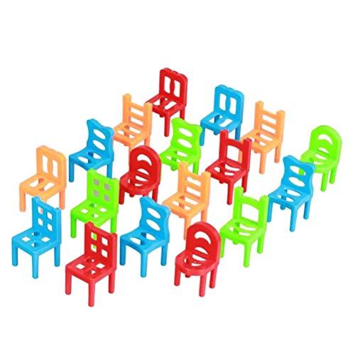 Dowoa Sillas Juguetes 18 Piezas sillas de plástico Coloridas Juego de Equilibrio Taburete apilable para Padres e Hijos Juguetes de Escritorio Regalo de cumpleaños para niños