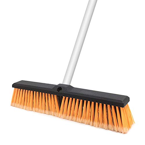 Push Broom Scrub Brush Bristles Broom Outdoor & Indoor 61.8 inches Long Handle Stainless Steel Rough Surface Floor for Concrete Wood Stone Tile Floor Bathroom Kitchen Patio Garage Deck