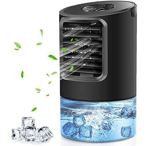 WWDOLL Aire Acondicionado Portátil, 4 en 1 Mini Enfriador de Aire Silencio Ventilador Aire Acondicionado Humidificador con Temporizador 2 4h, 3 Velocidades, 7 Colores LED para Hogar Oficina