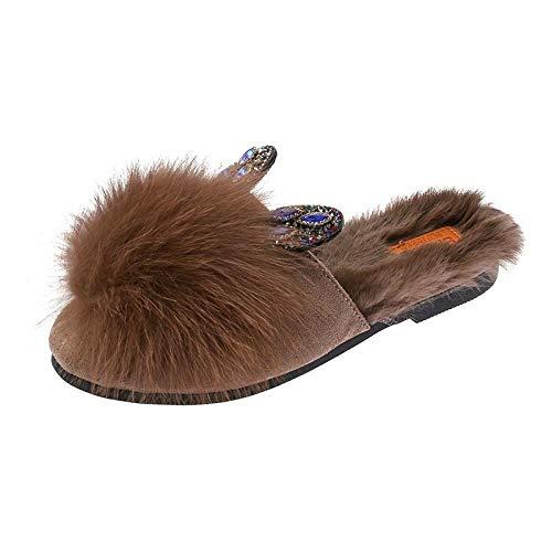 B/H Zapatillas De Estar por Casa con Forro,Zapatillas de Mujer de Lana.Otoño e Invierno Nuevo Fondo Plano Baotou-Khaki_38,Antideslizante CáLido Interior Dormitorio Zapatos