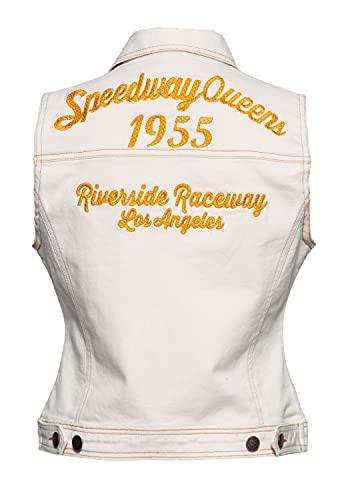 Queen Kerosin Chaleco vaquero para mujer, corte regular, algodón elástico, bordado Speedway Queen