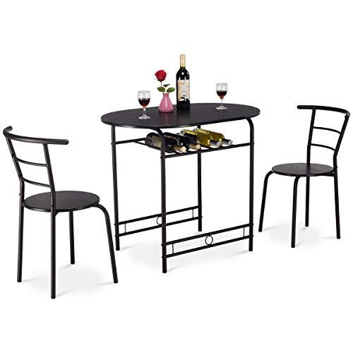 COSTWAY Küchenbar, 3tlg. Sitzgruppe Küche, Esstisch mit 2 Stühlen, Balkonset Farbwahl (Schwarz)