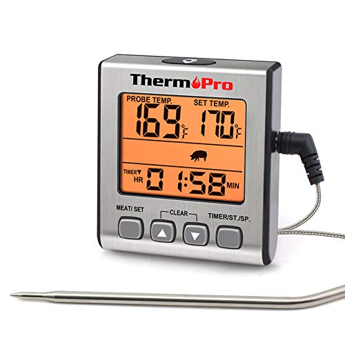 ThermoPro Digitales Grill-Thermometer Bratenthermometer Fleischthermometer Ofenthermometer mit Timer, Orange Hinterbeleuchtung, Temperaturbereich bis 300°C