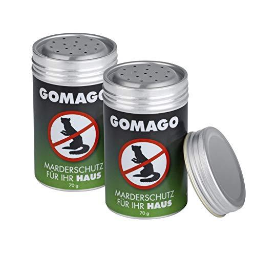 GOMAGO Marderschutz Set für Ihr Haus 2er Set | Zuverlässige und einfache Mardervergrämung durch Duftstoff | Alternative zu Marderschreck, Marderspray, Ultraschall u.ä. | Einfache Anwendung [2 x 70g]