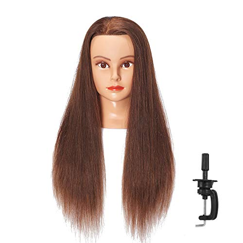 Hairlink 24-26'' Mannequin Head With Human Hair Styling Training Head Dolls for Cosmetology Manikin Maniquins Practice Head with Stand (6611LB0418H)