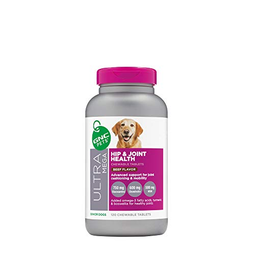 GNC Pets Ultra Mega Hip & Joint Health Chewable Tablets Dog Supplement for Senior Dogs, 120 Count - Beef Flavor | Advanced Support for Joint Cushioning & Mobility